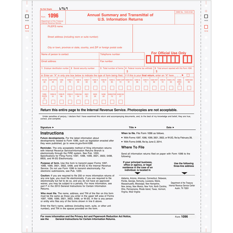 Continuous 1096 Annual Summary Transmittal 2 Part Sage Checks